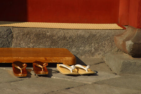 ryokan: Zori - traditional Japanese shoes before entering a Buddhist temple.