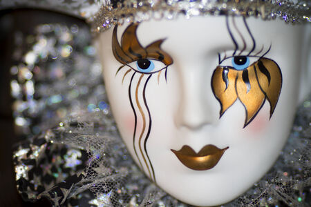 Head dolls, carnival makeup. Close up.
