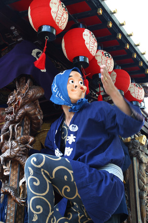 Annual summer festival. Hyottoko show in Hachioji, Tokyo , Japan.