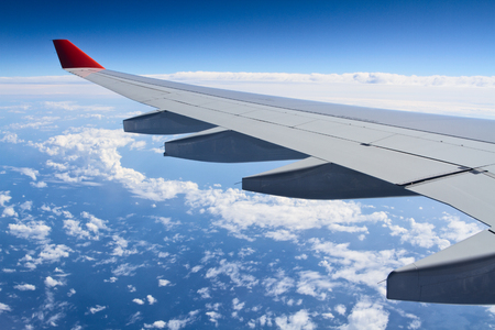 Wing aircraft. The view from the window of an airplane.
