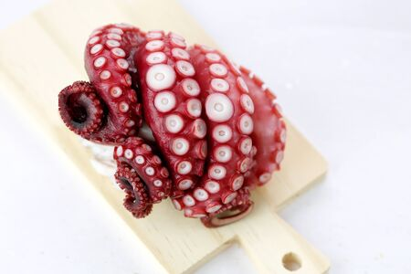 Octopus on cutting board. Stock Photo
