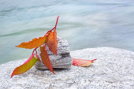 Autumn leaf on stone with river flow in the background.