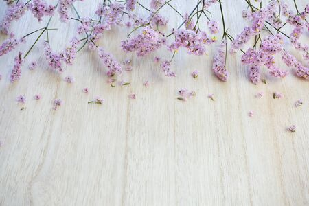 Beautiful pink flowers on wooden background. Stock Photo