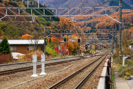 Railway tracks in the Japanese province of Nagano in the fall.