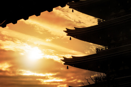 Pagoda against the sky at sunset.