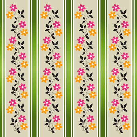 Geometric floral stripes background (vector) Stock Vector - 4303800