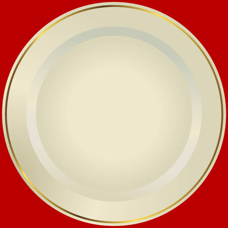 Old-fashioned white plate with a gold ornament (vector)