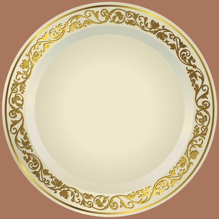昔ながらの白い皿金ヴィンテージ飾り
