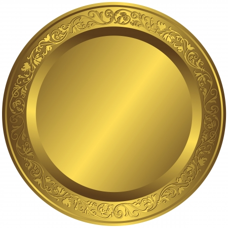 Old-fashioned golden plate with vintage ornament
