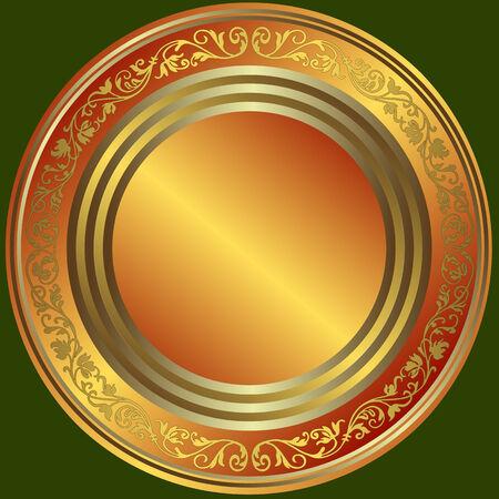 Bronzo, d'argento e d'oro con targa d'epoca ornamento Vettoriali