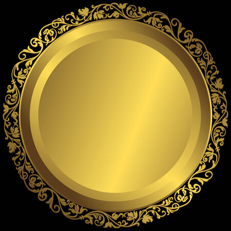 黒の背景 (ベクトル) ヴィンテージの飾りゴールデン プレート