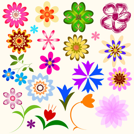 Collection abstract flowers (vector)