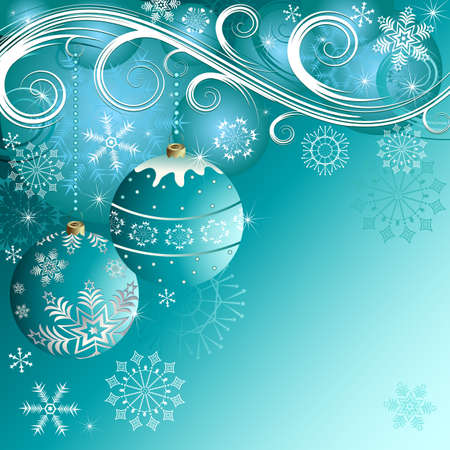 Blue christmas decorative background with balls (vector) Stock Vector - 5850189