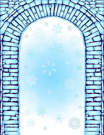 Blue christmas background with arch (vector) Stock Vector - 5873657