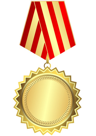 Gold medal with red and golden striped ribbon on white background (vector)