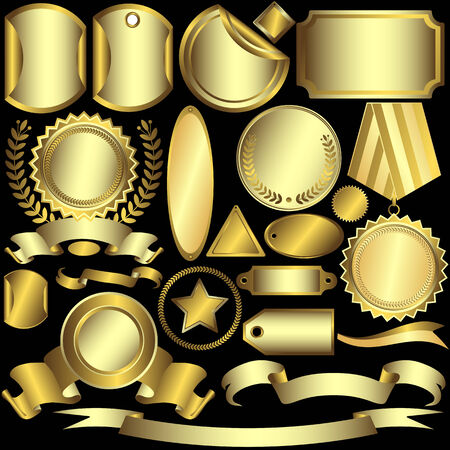 Set golden and silvery  labels  (vector) Stock Vector - 6070183