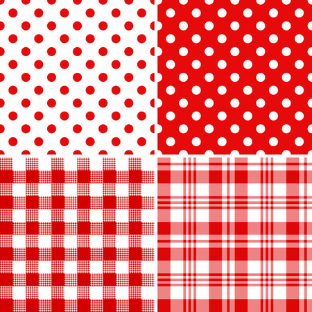 Set classical red-white seamless patterns