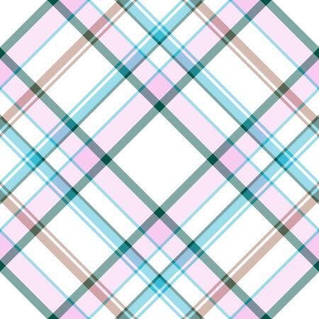 Modèle abstrait sans soudure blanc-bleu-Rose tartan  Vecteurs