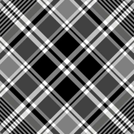 Seamless black-white and grey tartan pattern