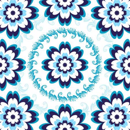 Motif floral transparente de blanc-bleu