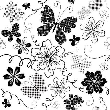 Białe i czarne bez szwu floral deseniu z kwiatów i butterflies