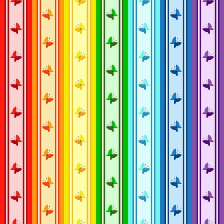 Striped  rainbow seamless pattern with colorful butterflies Stock Vector - 6916917
