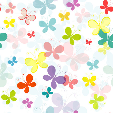 Seamless pattern with colorful translucent butterflies (EPS 10)