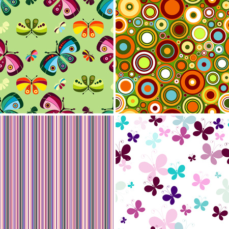 Collection geometric colorful seamless patterns