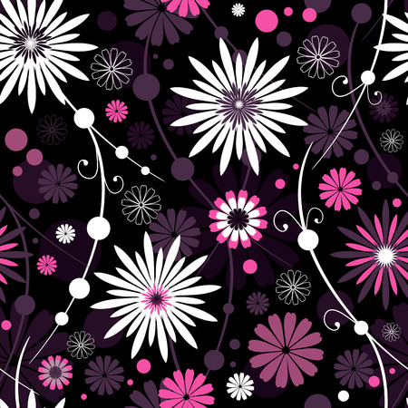 Seamless dark floral pattern with flowers and balls Stock Vector - 7160459