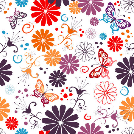 Seamless floral white pattern with flowers and butterflies Stock Vector - 7429734