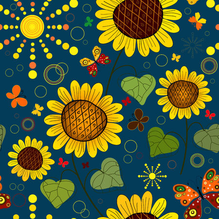 Patrón de transparente floral de verano azul oscuro con girasoles, el sol y las mariposas