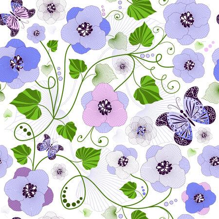 Seamless floral Pattern mit Blumen und Schmetterlingen (Vektor)