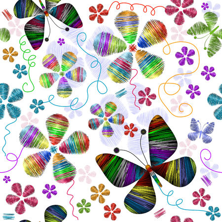 White seamless floral pattern with vivid butterflies and flowers (vector) Stock Vector - 7788838