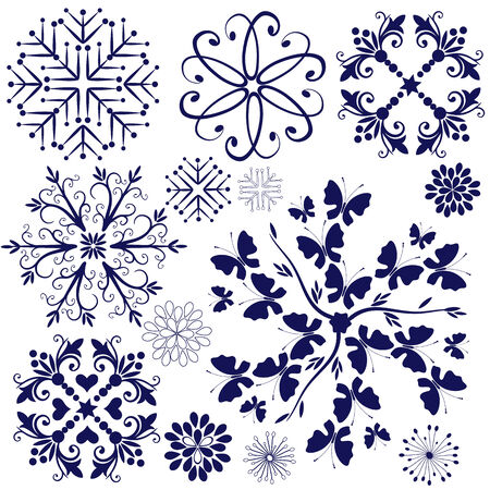 Copos de nieve de colección violeta y elementos de diseño aislados en blanco (vector)