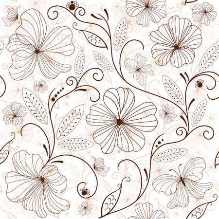 Sans soudure patron floral blanc avec des fleurs bruns