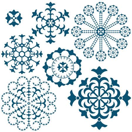 Set blauwe vintage sneeuwvlokken geïsoleerd op wit  Vector Illustratie