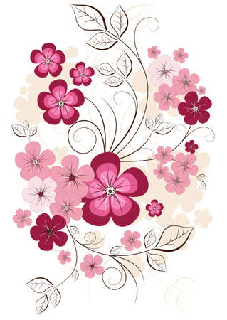 Spring isolated branch on a white background with flowers Stock Vector - 8582395
