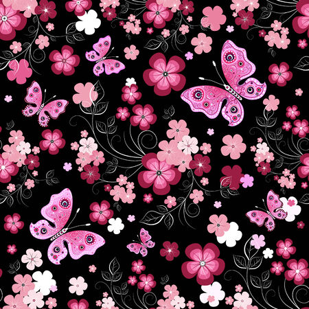 Dark seamless floral pattern with flowers and butterflies (vector) Illustration