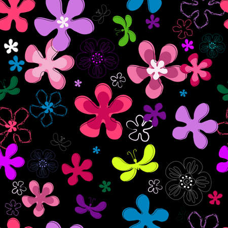 Black repeating floral pattern with vivid flowers and butterflies