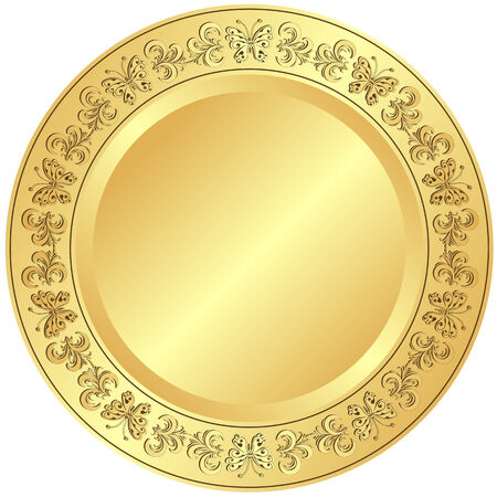 Golden plate with floral ornament on white background