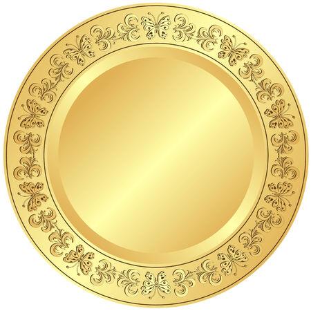 Placa dorada con adorno floral sobre fondo blanco