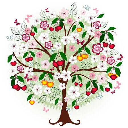 Dekorative Kirschenbaum mit Blumen, Beeren und Schmetterlinge