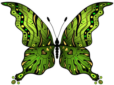 Verde y oro mariposa decorativo aislado en blanco  Ilustración de vector