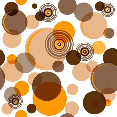 Abstracte naadloze patroon met chaotische bruin ballen en ringen
