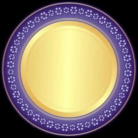 Violet-golden decoratieve plaat met florale sieraad op zwart  Vector Illustratie