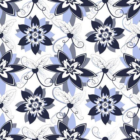 Weiße seamless floral Pattern mit blauen Blüten