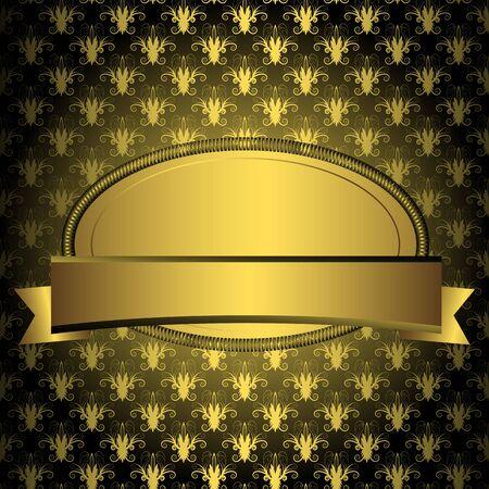 Ovale cornice dorata con nastro su sfondo nero d'epoca (vector) Vettoriali