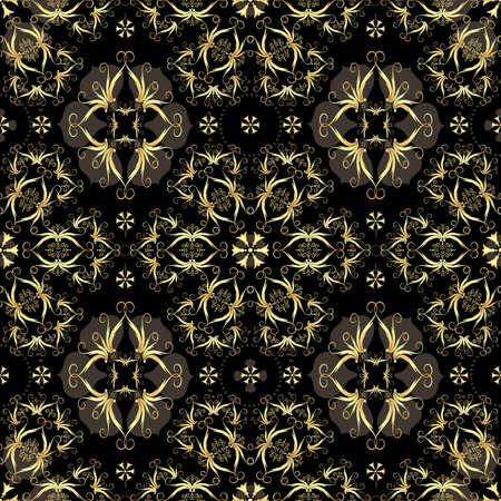 gold cross: Gold and  black seamless pattern with arabic ornament
