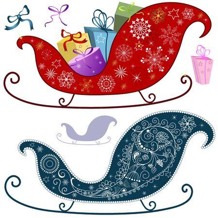 Elementos de la colección Navidad aislado para diseño en blanco (vector)