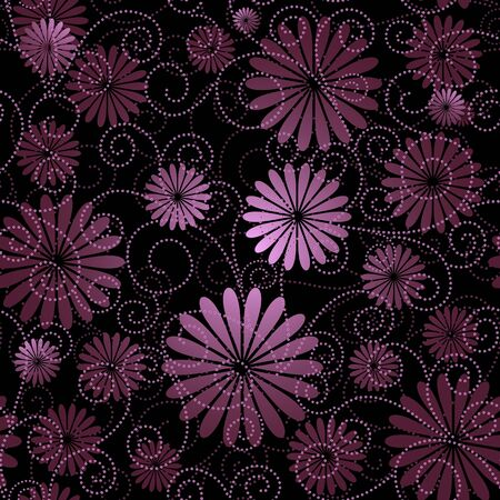 Black and violet seamless floral pattern with flowers and curls (vector)